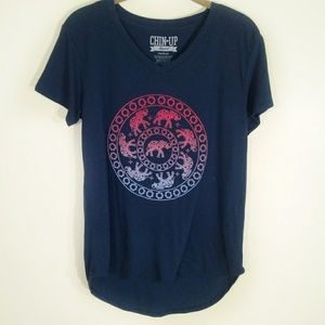 Elephant graphic t-shirt navy size M